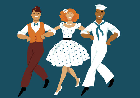 sailor girl: Three young people dressed in 1940s fashion marching arm in arm in the style of classic musical films, EPS 8 vector illustration, no transparencies