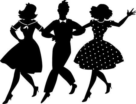 gal: Black vector silhouette of three young people in vintage clothes walking arm in arm, no white objects