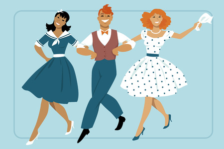 gal: Three young people dressed in vintage fashion marching arm in arm, EPS 8 vector illustration, no transparencies