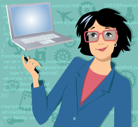 Female character with a laptop computer, HTML code on the background, EPS 8 vector illustration, no transparencies