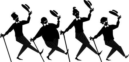 Black silhouette of a barbershop quartet performing a song and dance, EPS 8, no white objects