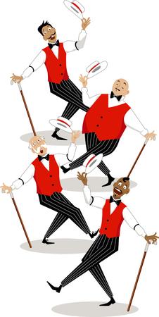 tanzen cartoon: Vier Sänger in der traditionellen Bühnenkostüme Durchführung Friseurladen Quartett Stil Song
