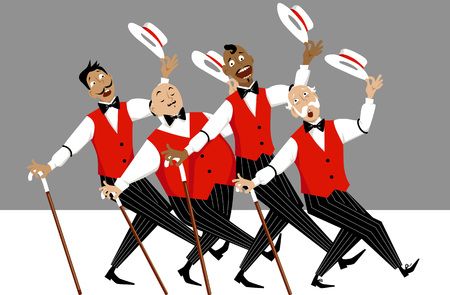 Quartet of singers in barbershop genre singing and dancing