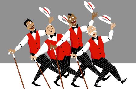 Quartet of singers in barbershop genre singing and dancing