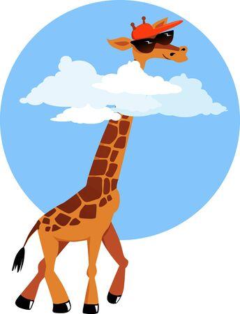 サングラスと野球帽が彼の頭を雲の上を歩いてかわいい漫画キリン