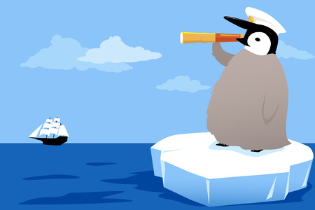 Baby penguin in a captain's hat riding an ice floe, looking in a telescope at the sailing ship on the horizon