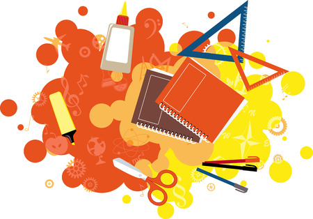 Decorative design element with school tools and subjects' icons