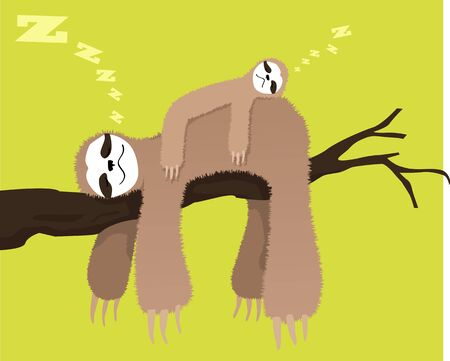 Cartoon sloth sleeping on a branch with a baby sloth on his back