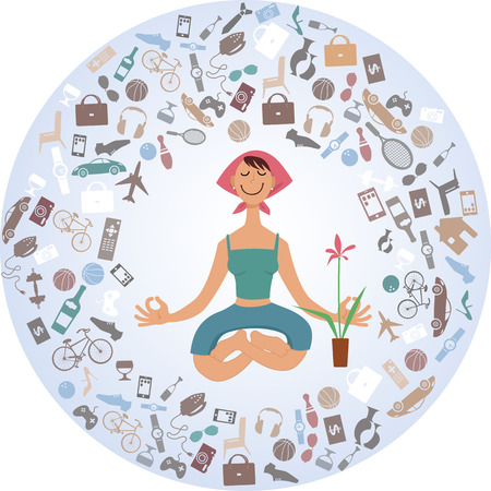 Cartoon woman sitting in yoga pose, surrounded by a cloud of stuff, illustration, no transparencies Stock Illustratie