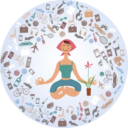 Mujer de dibujos animados sentada en pose de yoga, rodeada de una nube de cosas, ilustración, sin transparencias