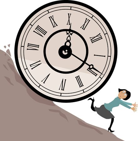 avoiding: Woman running from a huge clock rolling downhill,  illustration, no transparencies Illustration