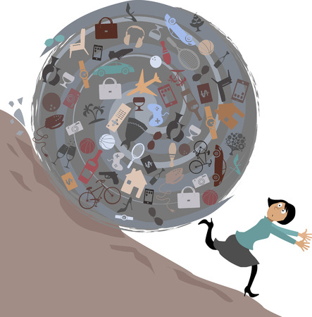 Scared woman running from a huge rolling ball of possessions, illustration, no transparencies