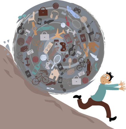 indulgence: Scared man running from a huge rolling ball of possessions, illustration, no transparencies Illustration