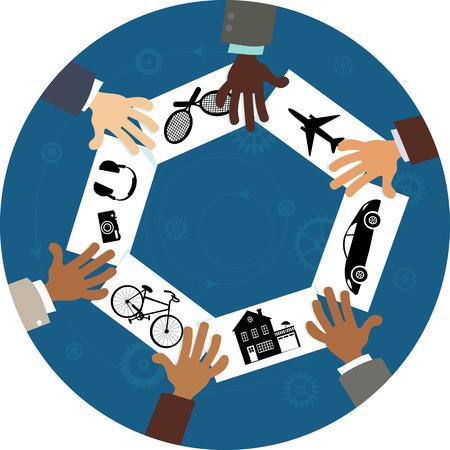 Partage de l'économie, illustration conceptuelle, pas transparents Banque d'images - 57991651
