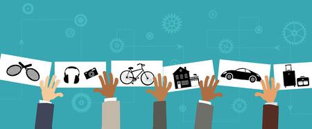 Sharing economy, conceptual illustration, no transparencies
