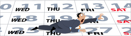 overwork: An exhausted cartoon businessman crawling on a calendar to a weekend, EPS 8 vector illustration, no transparencies Illustration