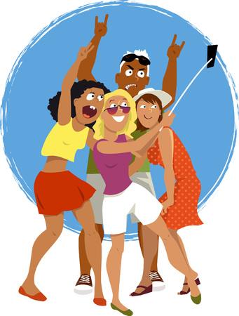 grupo de hombres: Cuatro jóvenes amigos tomando un autorretrato con un teléfono inteligente conectado a un palo autofoto, EPS 8 vector de dibujos animados, sin transparencias Vectores