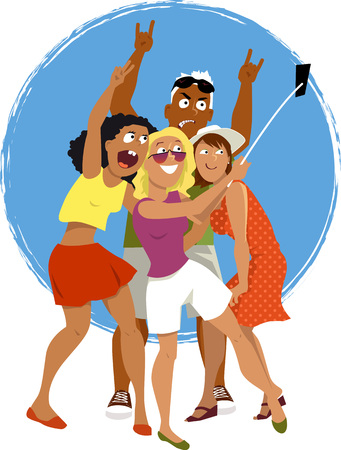 woman cellphone: Four young friends taking a self-portrait with a smartphone attached to a selfie stick, EPS 8 vector cartoon, no transparencies Illustration