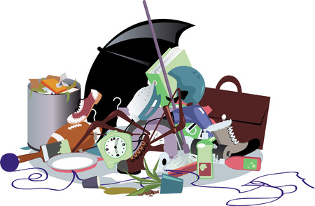 janitorial: Pile of household trash, EPS 8 vector illustration, no transparencies