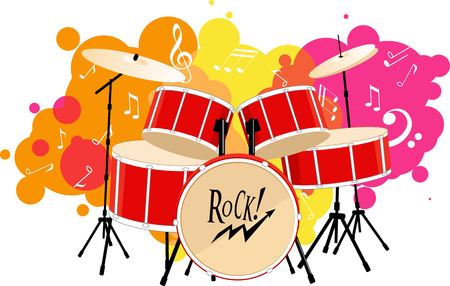 drum set: Decorative graphic vector illustration of a drum set on an abstract background, EPS 8 vector illustration, no transparencies Illustration
