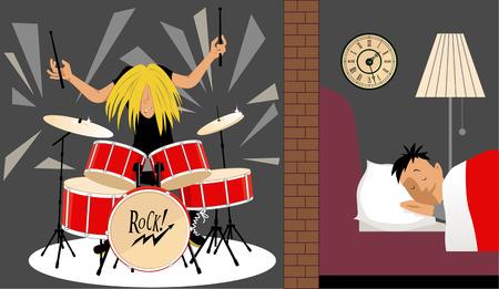 Man slapen rustig in een aanpassing ruimte om een musicus die een drumstel, illustratie van geluidsisolatie, EPS, 8 Vector Illustratie