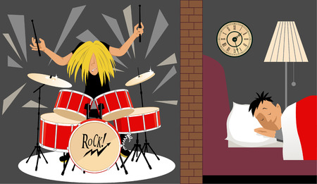 Man sleeping quietly in an adjusting room to a musician playing a drum set, illustration of soundproofing, EPS 8 Ilustracja