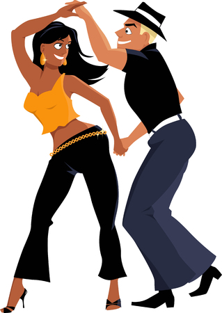 flirty: Young couple dancing salsa, EPS 8 vector illustrator, isolated on white, no transparencies