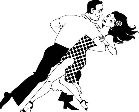 若いカップル ダンス サルサ、EPS 8 黒ベクトル線画、白いオブジェクトがありません。  イラスト・ベクター素材