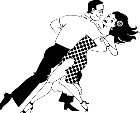 flirty: Young couple dancing salsa, EPS 8 black vector line art, no white objects Illustration