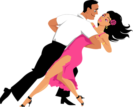 Young couple dancing salsa or tango, EPS 8 vector illustrator, isolated on white, no transparencies