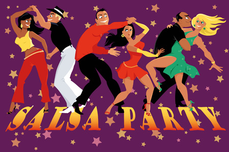 Cartoon couples dancing salsa in a nightclub, EPS 8 vector illustration, no transparencies