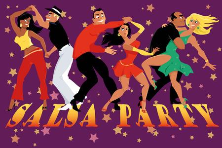 Cartoon couples dancing salsa in a nightclub, EPS 8 vector illustration, no transparencies