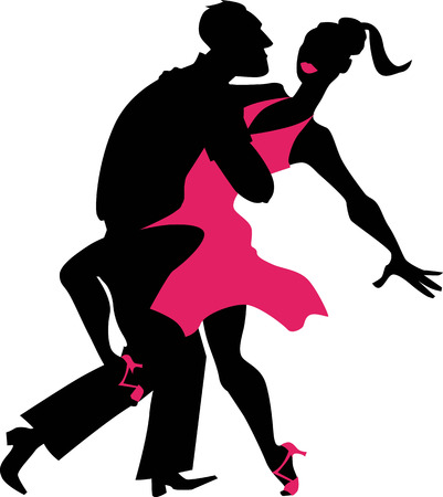 Young couple dancing salsa, EPS 8 black and pink vector silhouette Illustration