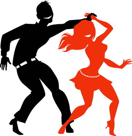 Young couple dancing salsa, EPS 8 black and red vector silhouette, no white objects Stock Illustratie