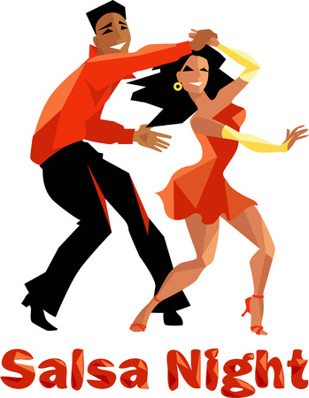 salsa dancer: Salsa night polygonal illustration for a poster, EPS 8 vector illustration, no transparencies