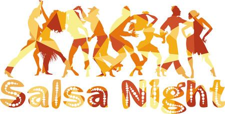 bailarines de salsa: Salsa casi ilustración vectorial silueta poligonal con parejas de baile, EPS 8 Vectores