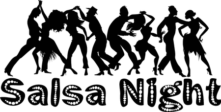 Salsa nigh black vector silhouette with dancing couples, no white objects, EPS 8