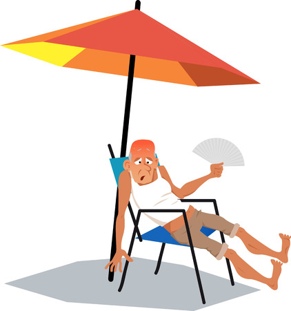 heat wave: Mature man, exhausted from an intence heat, sitting under an umbrella in a very hot summer day with a hand fan, EPS 8 vector illustration, no transparencies Illustration