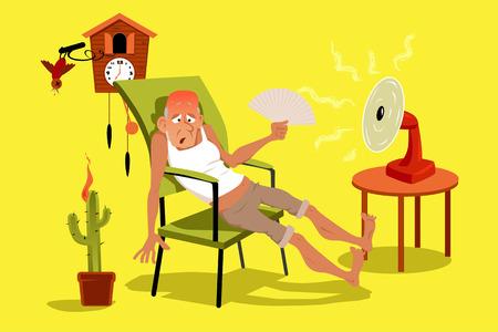 Dojrzały mężczyzna siedzi w swoim domu w bardzo gorący letni dzień z wentylatorem, EPS 8 ilustracji wektorowych, bez folii