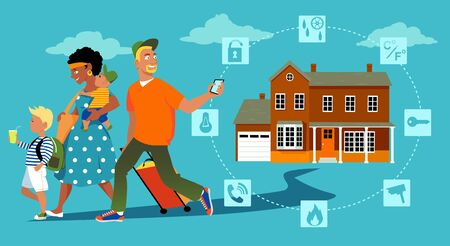 Family going on vacation, a man arming a home security system on his way out, EPS 8 vector illustration, no transparencies