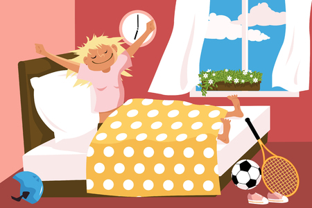 Cartoon woman waking up in her bed early in the morning, sport equipment lying around, EPS 8 vector illustration, no transparencies