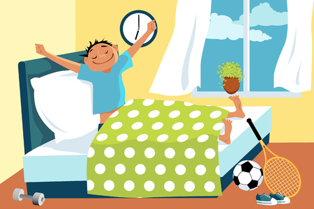 Cartoon man waking up in his bed early in the morning, sport equipment lying around, EPS 8 vector illustration, no transparencies
