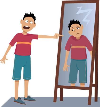 A negative person screaming at his own sad reflection in the mirror, EPS 8 vector illustration, no transparencies Stock Illustratie