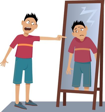 Een negatief persoon schreeuwt tegen zijn eigen trieste reflectie in de spiegel, EPS 8 vector illustratie, geen transparanten Vector Illustratie