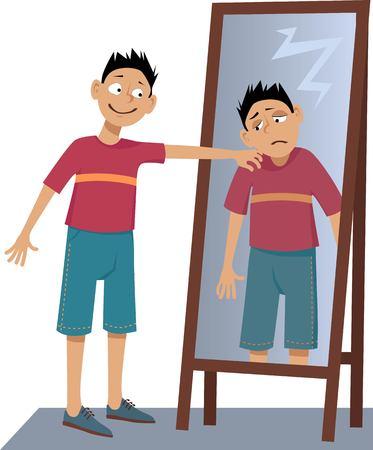 Eine positive Person sein eigenes trauriges Spiegelbild im Spiegel auf die Schulter klopfen, EPS 8 Vektor-Illustration, keine Folien