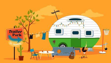 Trailer park scene with a caravan trailer, EPS 8 vector illustration, no transparencies