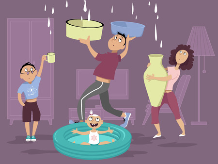 Family dealing with a water leak in the ceiling Stock Illustratie