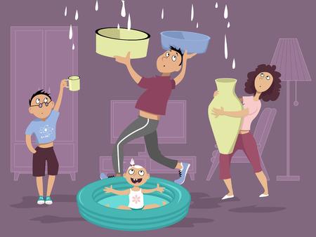 Rodzina do czynienia z wyciekiem wody w suficie