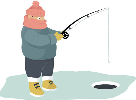 ice fishing: Warmly dressed person ice fishing