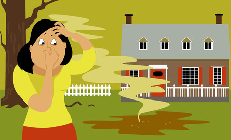 backyard: Woman standing in a backyard next to a puddle of sewage